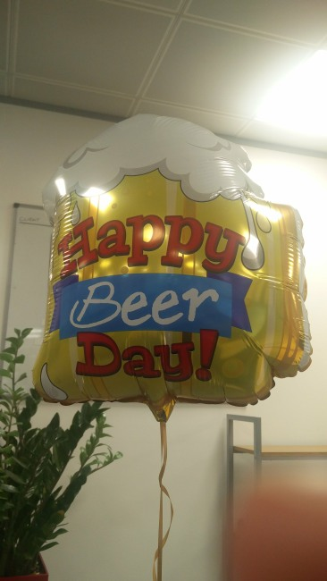 A balloon shaped as a beer glass